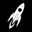 Start Up Symbol Space Rocket Ship Sky, Space Shuttle icon  on dark background