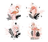 Hand drawn vector abstract graphic freehand textured sketch pink flamingo and tropical palm leaves drawing illustration collection set with modern decoration elements isolated on white background - 205037075