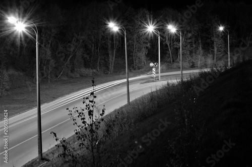 Plexiglas Nacht snelweg Night road