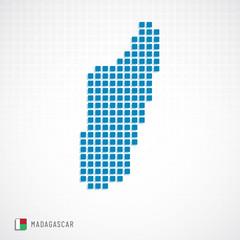 Madagascar map and flag icon