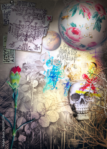 Canvas Imagination Skull,skeleton an gosth with scary scenery