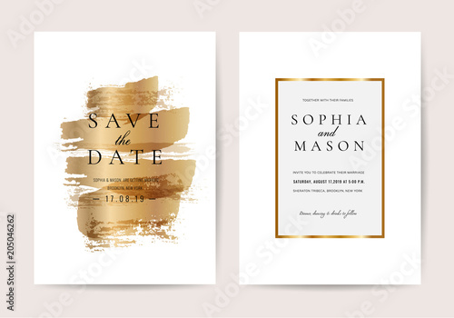 Luxury wedding invitation cards with Golden texture minimal vector design template