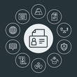 business, education Infographic Circle outline Icons Set. Contains such Icons as mentor,  search,  identification,  clock,  education,  map, education,  student and more. Fully Editable. Pixel Perfect