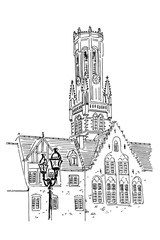 Vector sketch of Belfort van Brugge - famouse 12th-century belfry Belfort of Bruges and Grote Markt square, Belgium.