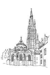 Vector sketch of Church of Our Lady, Onze Lieve Vrouw Brugge, Belgium.