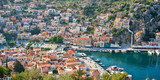 Aial panoramiv view of Symi, Dodecanese island, Greece - 205051242