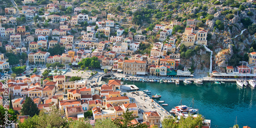 Aial panoramiv view of Symi, Dodecanese island, Greece