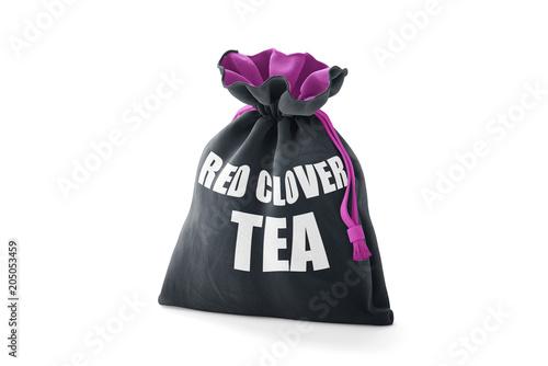 Poch Pakował Czerwonej Koniczyny Herbaty na Odosobnionym Białym Tle