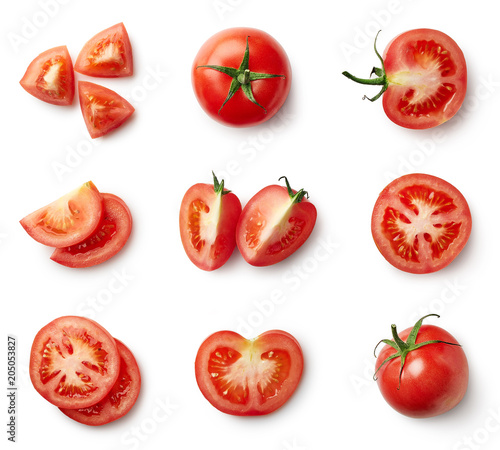 Set of fresh whole and sliced tomatoes - 205053827