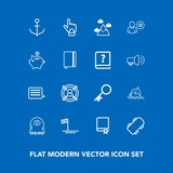 Modern, simple vector icon set on blue background with animal, encyclopedia, sky, gesture, dolphin, monster, skate, house, mexico, baja, library, concept, ship, finger, target, security, key icons