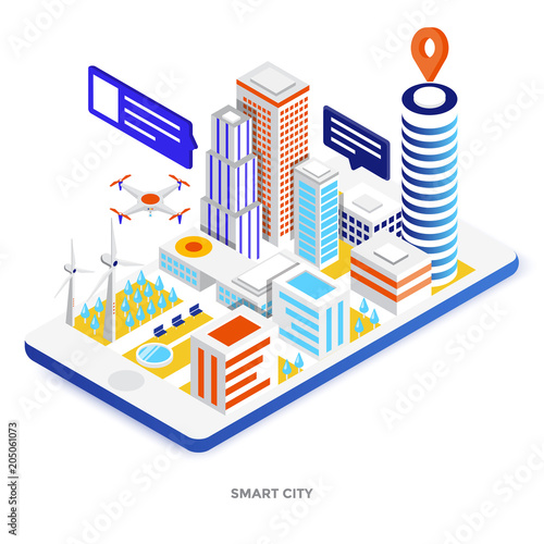 Flat color Modern Isometric Illustration - Smart city