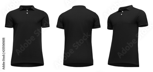 a0143b662eb998 Blank template men black polo shirt short sleeve, front and back view half  turn bottom