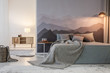 Grey bedroom interior with light - 205064032