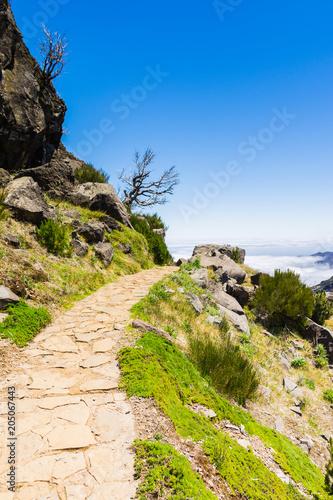 Plexiglas Beige Trekking at the highest mountain of Madeira, Pico Ruivo, Portugal