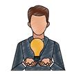 Businessman with idea vector illustration graphic design