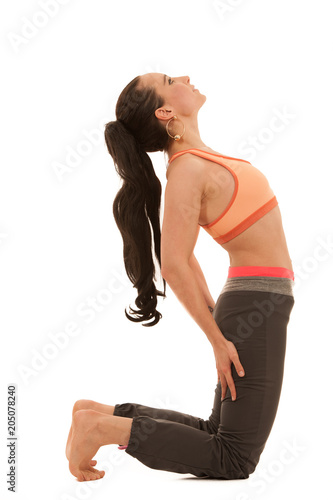 Poster Yoga practice - beautiful young woman with black hair exercise yoga
