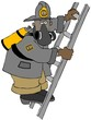 Illustration of a black fireman wearing a respirator and climbing a ladder.