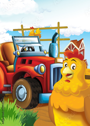 cartoon happy and funny farm scene with tractor - car for different tasks - illustration for children - 205085605