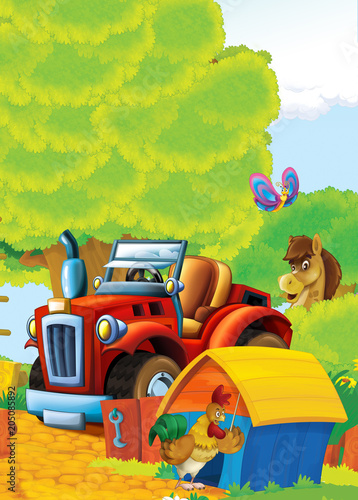 cartoon happy and funny farm scene with tractor - car for different tasks - illustration for children - 205085892