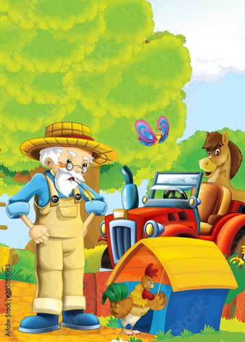 cartoon happy and funny farm scene with tractor and working farmer - car for different tasks - illustration for children - 205086083