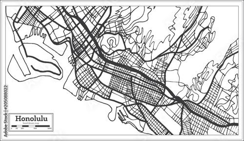 Fototapeta Honolulu USA City Map in Retro Style. Outline Map.