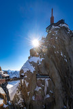 The Aiguille du Midi (3842m) with footbridge and observation deck. Chamonix needles, Mont Blanc mountain range, Upper Savoy (Haute-Savoie), Alps, France - 205088405