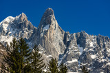 The sheer cliffs of Aiguilles des Drus and Aiguille Verte (left) in the Mont Blanc mountain range. Chamonix, Haute-Savoie (Upper Savoy), Alps, France - 205088609