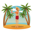 Beautiful and sexy woman at beach cartoons vector illustration graphic design
