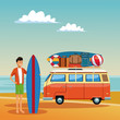 Young man with surf van at beach vector illustration graphic design