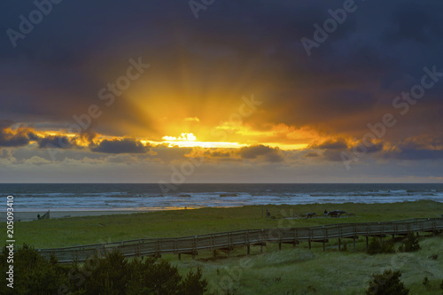 Sun Rays at Long Beach Washington during Sunset in the mouth of Columbia River