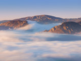 Urkiola and Gorbea mountains with fog at morning