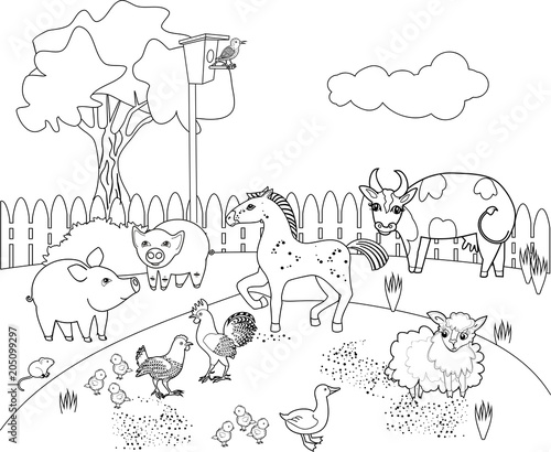 coloring page rural landscape with different farm animals buy photos ap images detailview. Black Bedroom Furniture Sets. Home Design Ideas