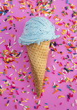 Blue Ice Cream and Sprinkles in a Waffle Cone