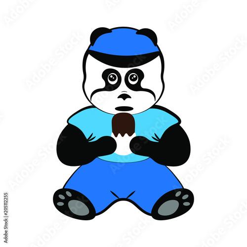 Fototapeta panda with ice cream