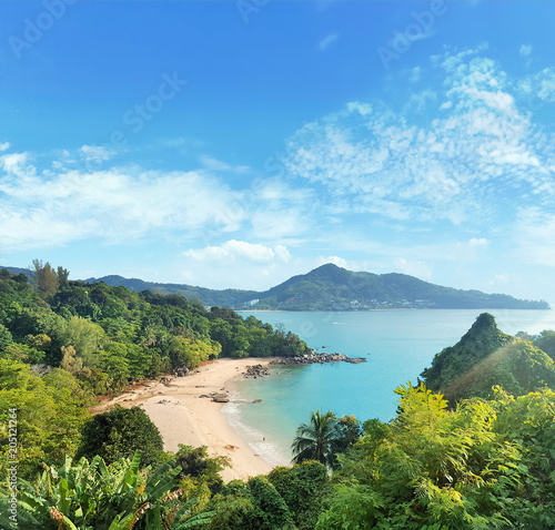 Fotobehang Konrad B. Beautoful asian landscape of a rainforest and an ocean