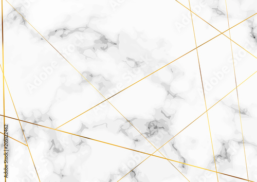 Naklejka Marble stone plate with chic golden lines pattern