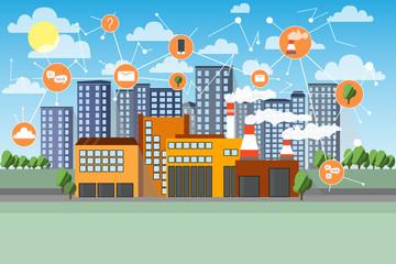 Smart factory. Network icons. Cityline and industrial background. Cartoon flat vector illustration. © kozhevnikofa
