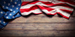 Quadro American Flag On Wooden Table - Grunge Textures