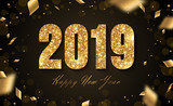 2019 New Year with confetti - 205127871