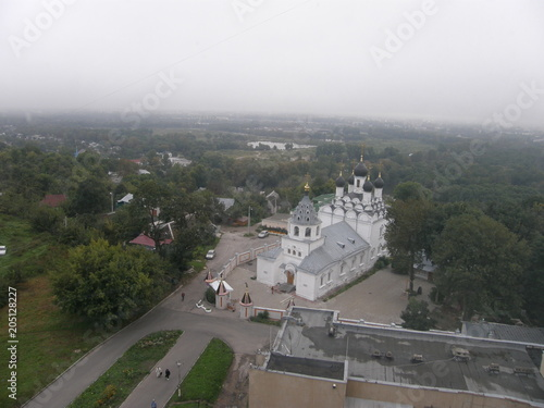 Fotobehang Wit Architecture building building exterior built structure City Cityscape day environment fog high angle view mode of transportation Nature no people outdoors Plant residential district Road sky Transpor