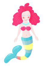 Illustration Cute Mermaid Or Sea Fairy Princess Girl  A Fish Tail Beautiful Siren Or Red Hair Mermaid Character Sticker