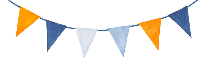 Cute, colorful, party garland with decorative festive flags. Yellow orange, light blue, dark indigo colors; triangular shape. Hand drawn water colour graphic painting on white, clip art for design. © Julija