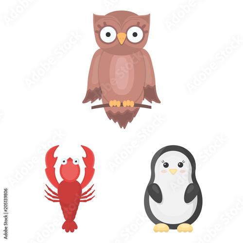 Fotobehang Uilen cartoon An unrealistic animal cartoon icons in set collection for design. Toy animals vector symbol stock web illustration.