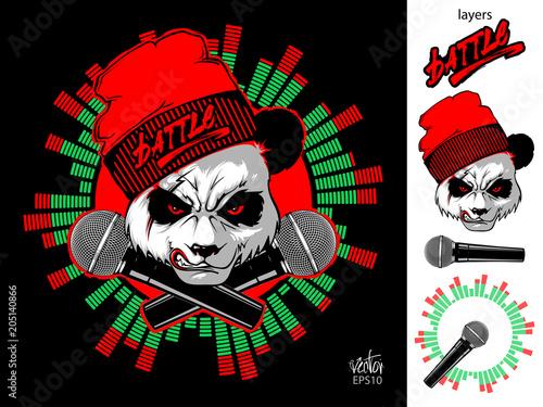 Fototapeta Angry Panda and two microphones
