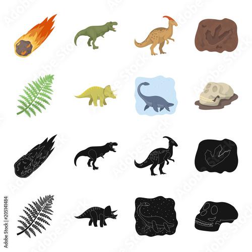 Sea dinosaur,triceratops, prehistoric plant, human skull. Dinosaur and prehistoric period set collection icons in black,cartoon style vector symbol stock illustration web.