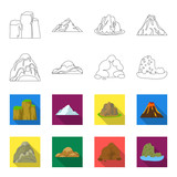 Boulders, a rounded mountain, rocks in the sea. Different mountains set collection icons in outline,flat style vector symbol stock illustration web.