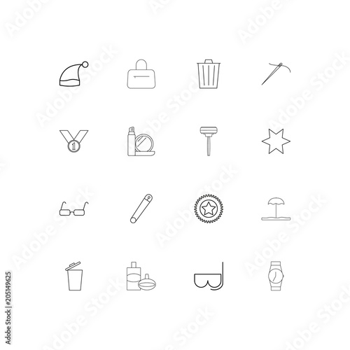 Beauty Dress And Clothes linear thin icons set. Outlined simple vector icons
