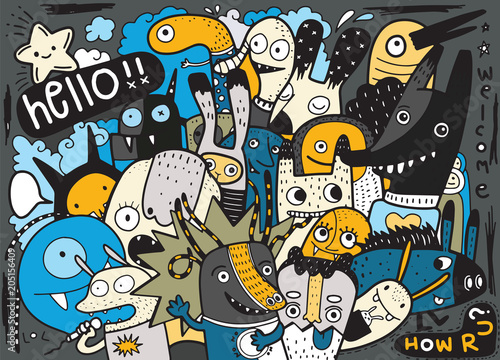 Hipster Hand drawn Crazy doodle Monster City,drawing style.Vecto