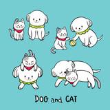 Cartoon cute white cat and white dog vector. - 205162441