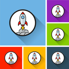 Rocket Icons  Long Shadow Sticker